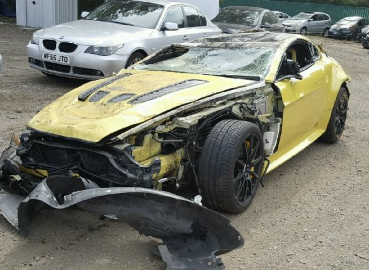 Another smashed up Aston.